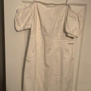 Off the shoulder, White Jean Dress